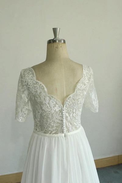 Short Sleeve V-neck Lace Chiffon Wedding Dress_4