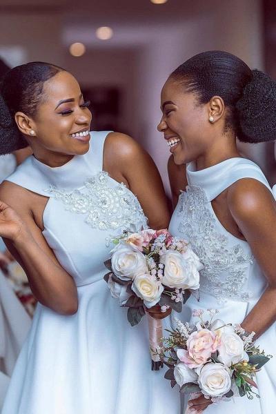 Cute Applqiues Satin A-line Bridesmaid Dress_6