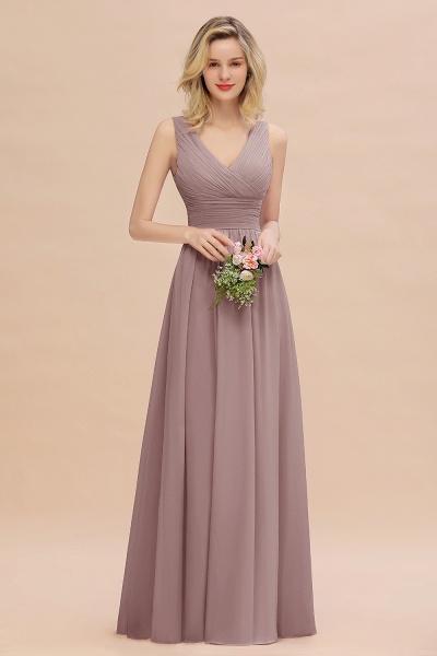 BM0752 Elegant A-line V-Neck Ruffles Long Bridesmaid Dress_37