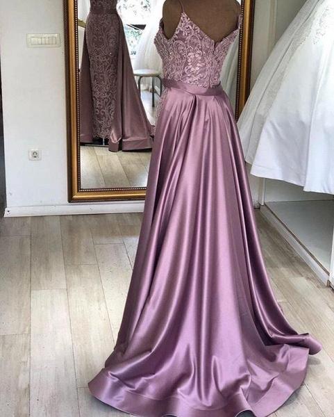 Eye-catching V-neck Stretch Satin A-line Prom Dress_2