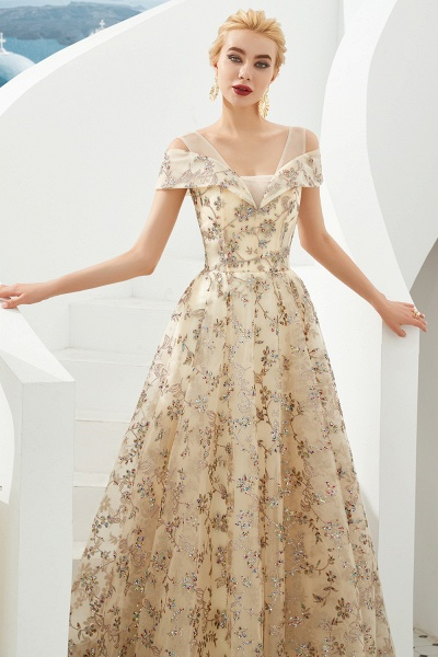 Graceful V-neck Tulle A-line Prom Dress_4