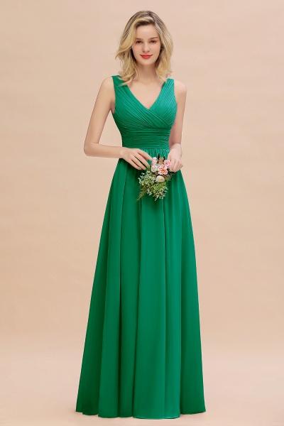 BM0752 Elegant A-line V-Neck Ruffles Long Bridesmaid Dress_49