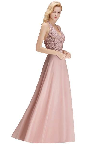 Halter Composite Emulation Silk A-line Floor Length Bridesmaid Dress_24