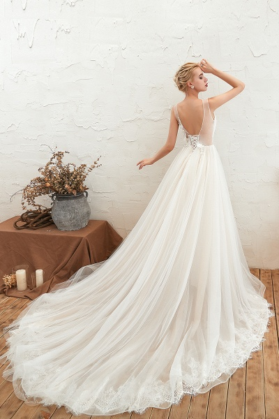 Chic Lace-up Appliques Tulle A-line Wedding Dress_8