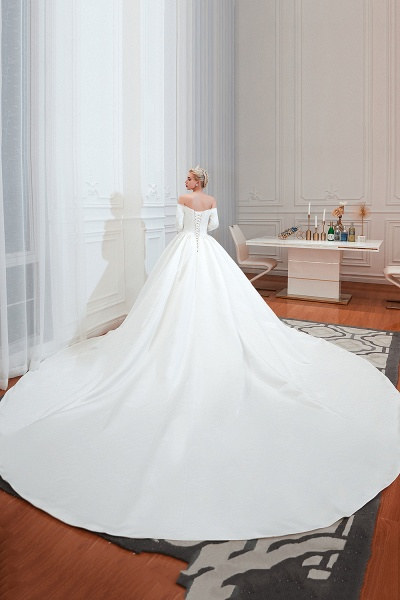 Off Shoulder Lace-up Satin A-line Wedding Dress_4