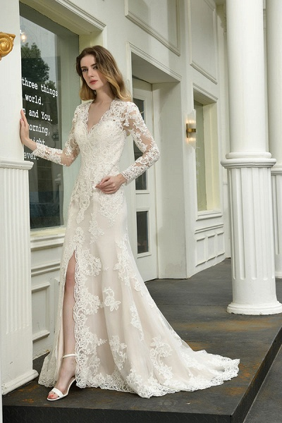 Exquisite V-Neck Long Sleeve Mermaid Wedding Dress_7