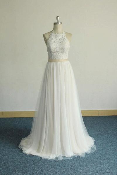Elegant Halter Lace Tulle A-line Wedding Dress_1