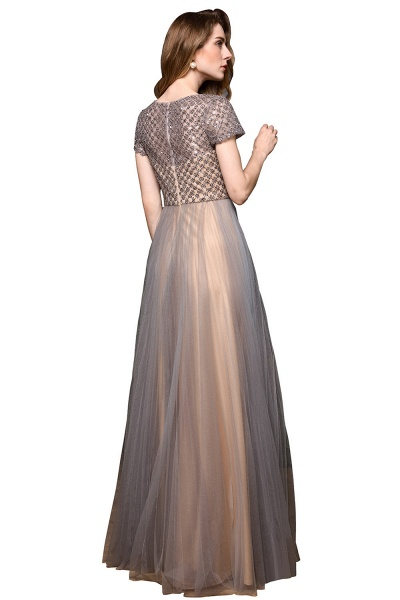 Stunning Short Sleeves Squared Sequined Tulle Prom Dress_9