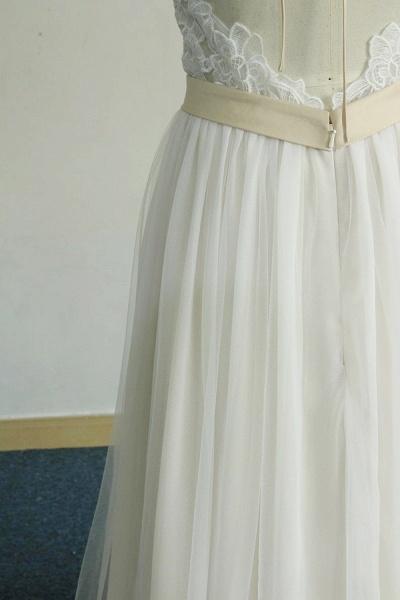 Elegant Halter Lace Tulle A-line Wedding Dress_7