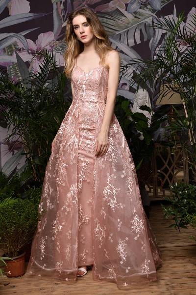 Dusty Pink Spaghetti Strap A-line Lace Prom Dress_3