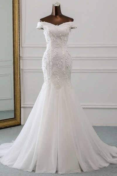Off Shoulder Lace-up Applique Mermaid Wedding Dress_1