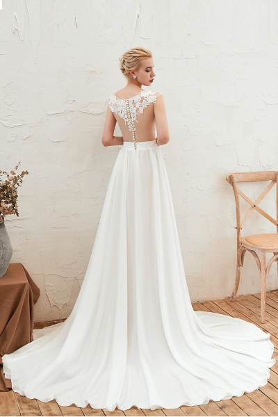 High Slit Appliques Chiffon A-line Wedding Dress_4
