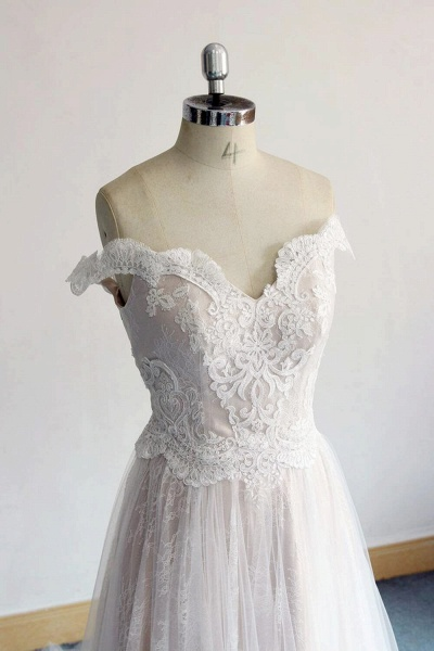Latest Off Shoulder Lace Tulle A-line Wedding Dress_4