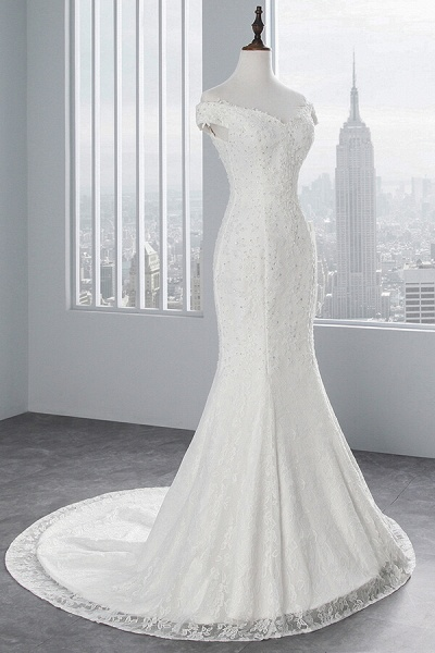 Off Shoulder Lace-up Mermaid Lace Wedding Dress_6