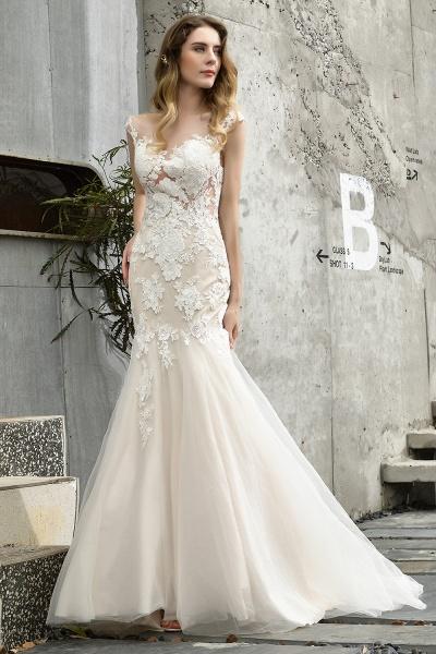 Mermaid Floor Length Lace Tulle Wedding Dresses_1