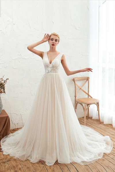 Chic Lace-up Appliques Tulle A-line Wedding Dress_2