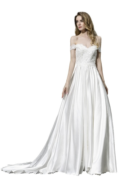 A Line Off the Shoulder Sweetheart Lace Satin Wedding Dress_1