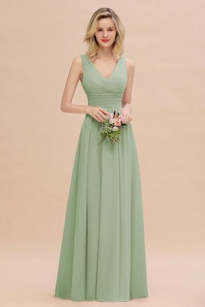 BM0752 Elegant A-line V-Neck Ruffles Long Bridesmaid Dress_41