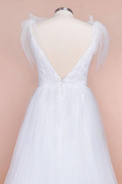 Chic V-neck Appliques Tulle A-line Wedding Dress_5