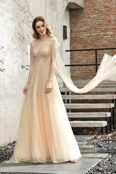 Luxury Shawl Sequined A-line Long Prom Dress_10