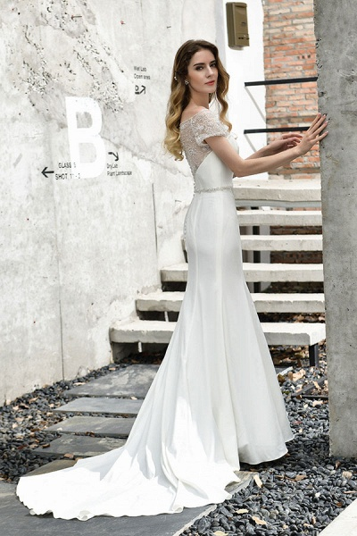 Short Sleeve Mermaid Satin Lace Wedding Dress_4