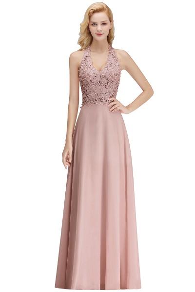 Halter Composite Emulation Silk A-line Floor Length Bridesmaid Dress_25