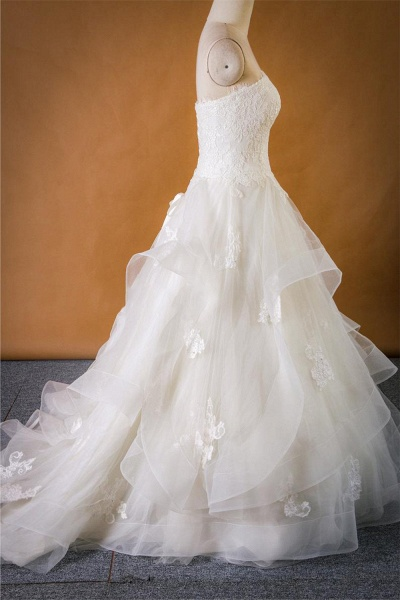 Strapless Lace-up Tulle A-line Wedding Dress_5