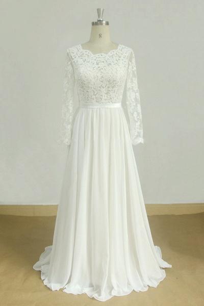 Long Sleeve A-line Lace Chiffon Wedding Dress_1