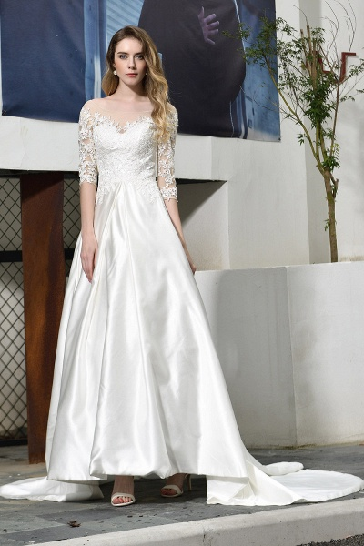 Lace Half Sleeves V Neck Sheer Tulle Wedding Dress_8