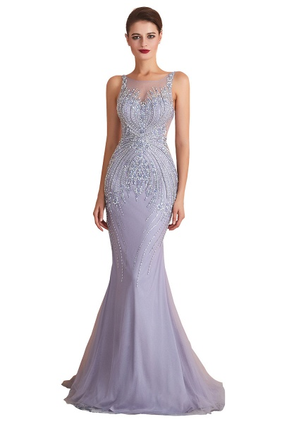 Graceful Jewel Tulle Mermaid Prom Dress_1