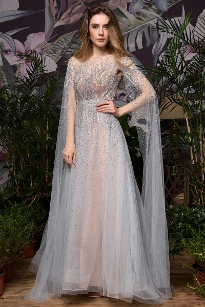 Luxury Shawl Sequined A-line Long Prom Dress_20