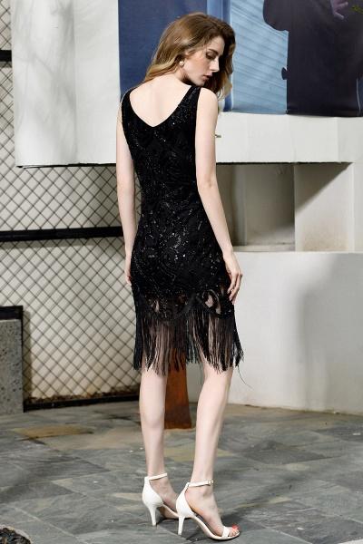 Chic Fringed Sequins V-neck Knee Length Prom Dress_3
