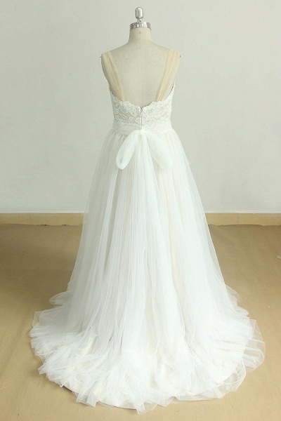 Graceful Illusion Lace Tulle A-line Wedding Dress_3