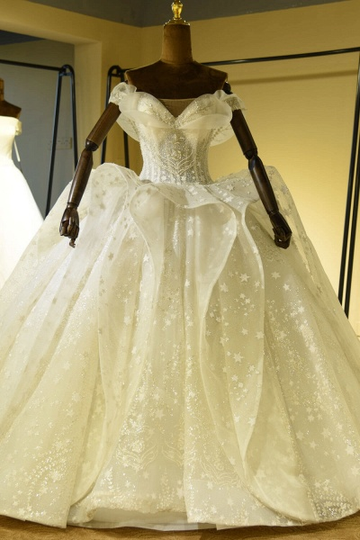 Eye-catching Lace-up Tulle Ball Gown Wedding Dress_1