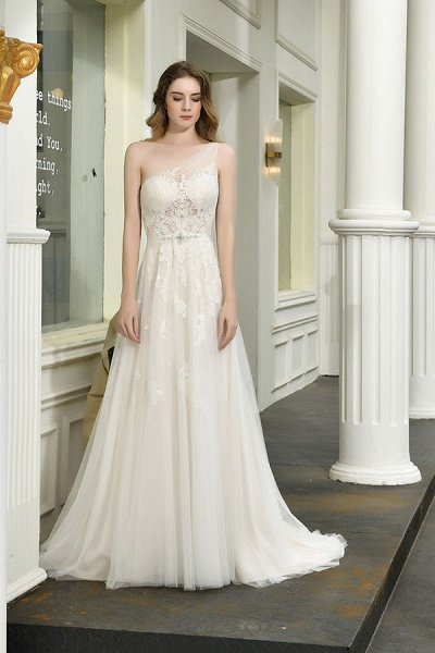 Chic One Shoulder Tulle Lace A-Line Wedding Dress_9