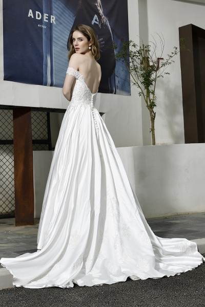 A Line Off the Shoulder Sweetheart Lace Satin Wedding Dress_12