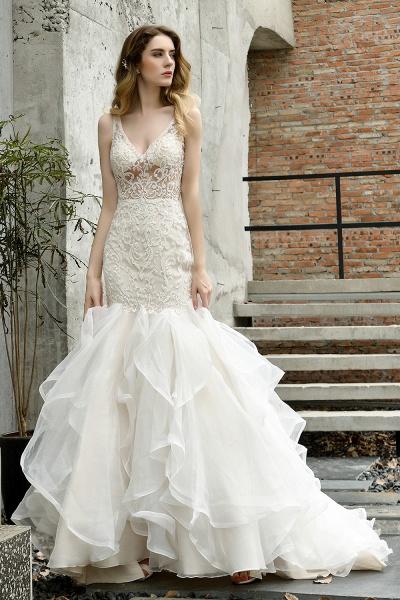 Mermaid V-neck Lace Organza Ruffles Wedding Dress_11
