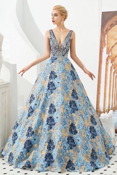 Beautiful V-neck Satin A-line Prom Dress_5
