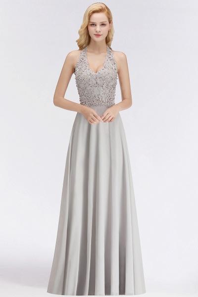 Halter Composite Emulation Silk A-line Floor Length Bridesmaid Dress_6