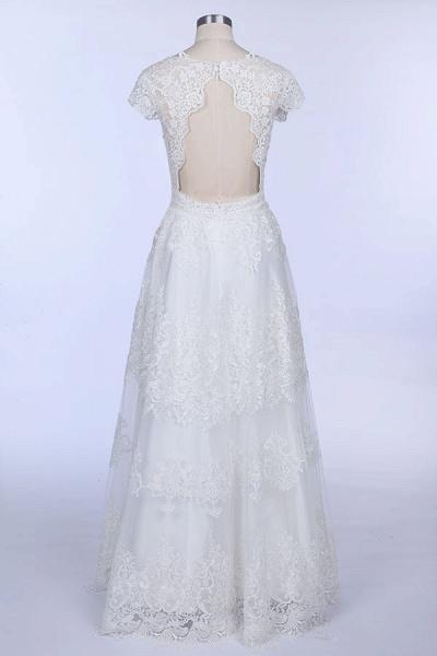 Best Cap Sleeve V-neck Sweep Train Wedding Dress_4