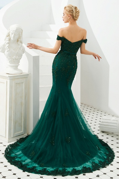 Elegant Off-the-shoulder Tulle Mermaid Prom Dress_6