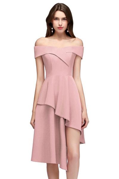 MALLORY   A-line Asymmetrical Short Off-the-shoulder Burgundy Prom Dresses_1