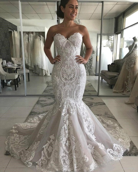 Amazing Strapless Appliques Mermaid Wedding Dress_1