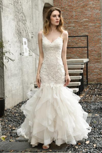 Mermiad Sweetheart Floral Lace Floor Length Wedding Dress_7