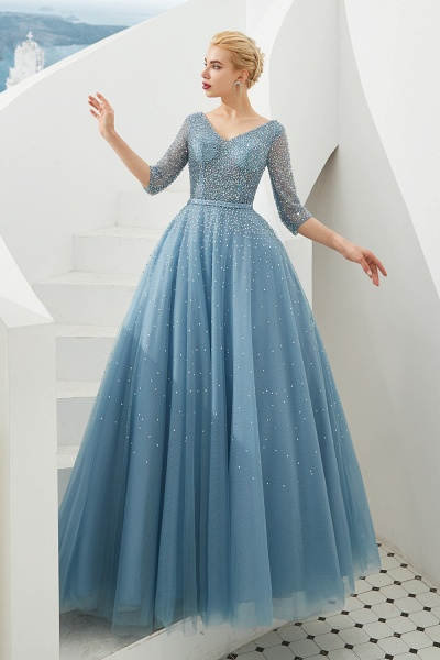 Chic V-neck Tulle A-line Prom Dress_3
