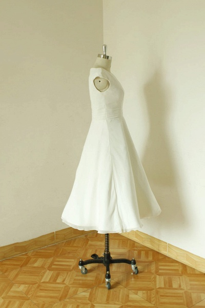 Cap Sleeve Chiffon Mini A-line Wedding Dress_5