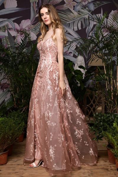 Dusty Pink Spaghetti Strap A-line Lace Prom Dress_8