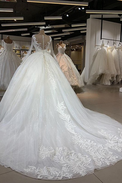 Elegant Long Sleeve Ball Gown Tulle Wedding Dress_3