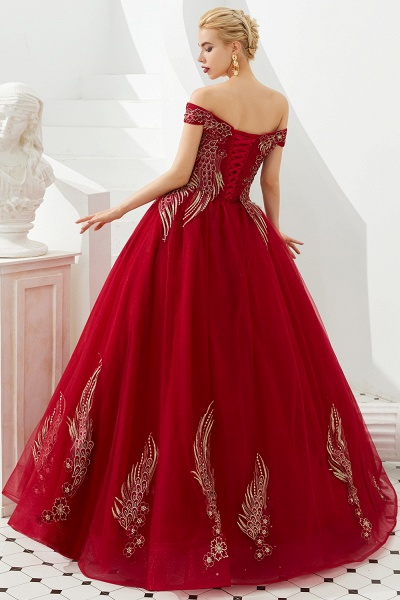 Beautiful Off-the-shoulder Tulle Ball Gown Prom Dress_5