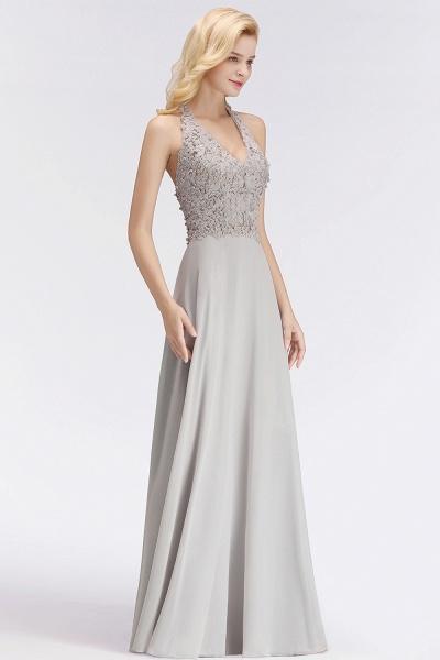 Halter Composite Emulation Silk A-line Floor Length Bridesmaid Dress_9